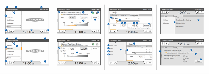 Wireframes for oven experience