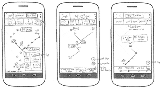 Early sketch of mobile experience